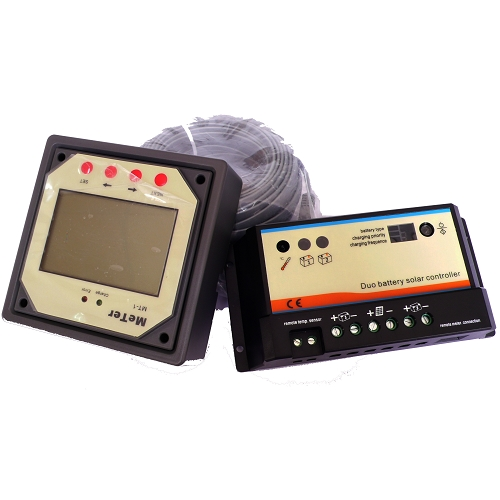 Solar Battery Meter : Dual battery controller with remote meter a v or